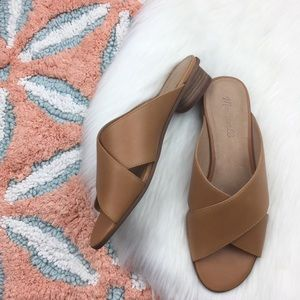 Madewell The Ruthie Criss Cross Sandal Mules.